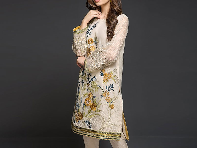 2-Pcs Embroidered Lawn Dress with Phulkari Embroidered Trouser