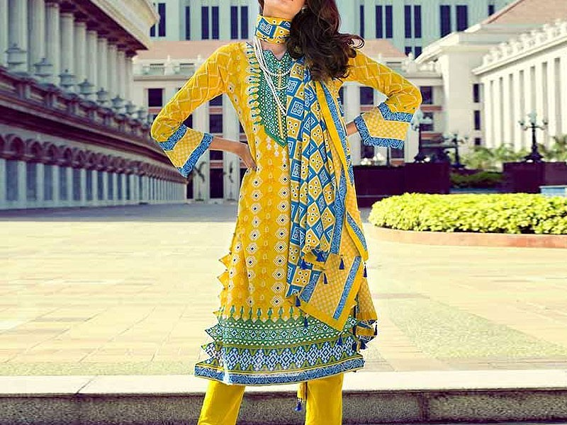 2-Pcs Embroidered Lawn with Embroidered Trouser