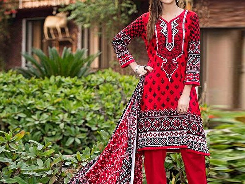 Heavy Embroidered Lawn Dress with Scroll Embroidered Chiffon Dupatta