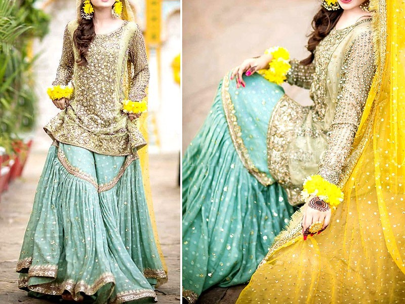 Handwork Heavy Embroidered Net Dress with Chiffon Dupatta