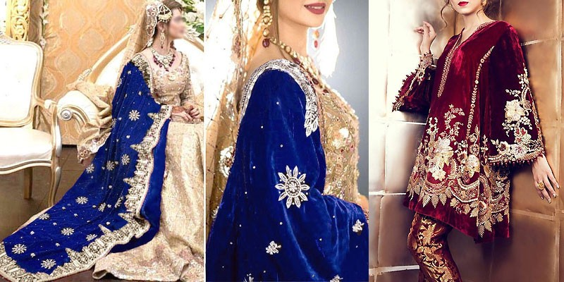 Luxury Velvet Dresses & Velvet Shawls Collection 2019-20