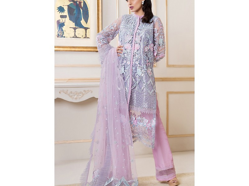 Embroidered Masoori Net Bridal Dress with Jamawar Trouser