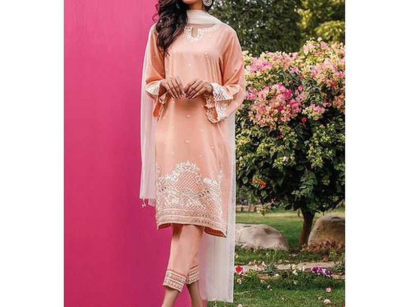 Embroidered Linen Dress with Linen Dupatta
