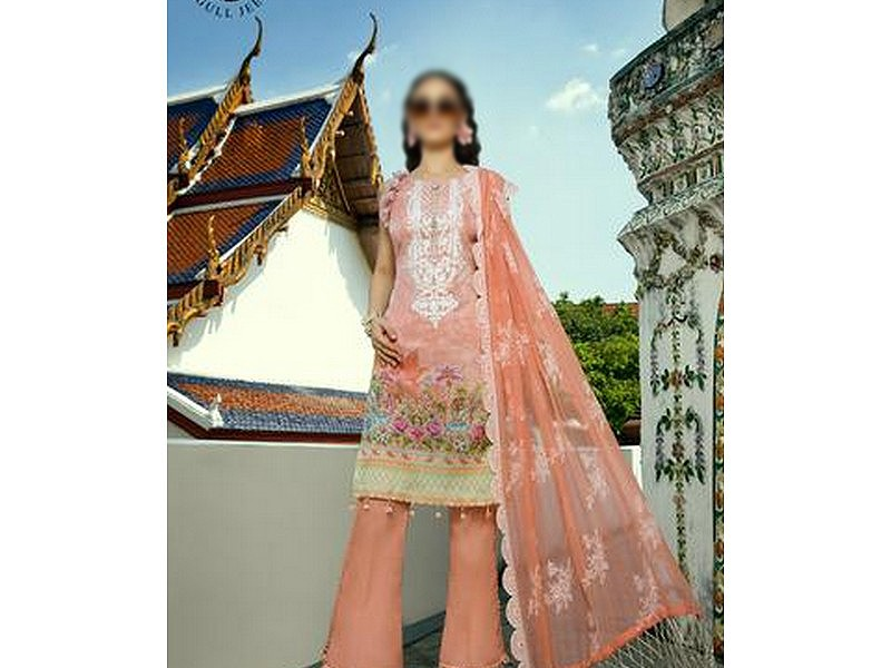 Heavy Embroidered Masoori Lawn Dress with Chiffon Dupatta