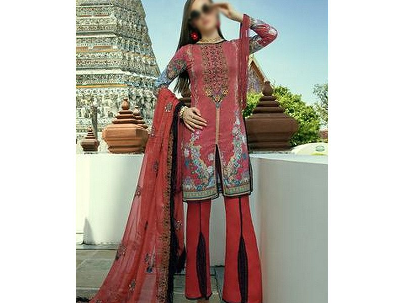 Heavy Neck Embroidered Lawn Dress with Lawn Dupatta