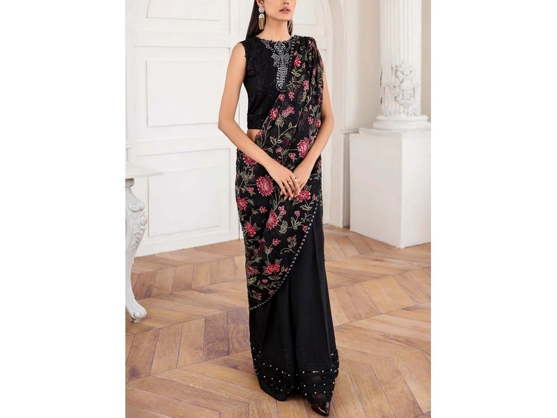 Heavy Embroidered Red Formal Chiffon Party Dress