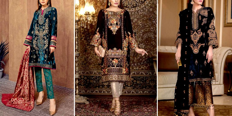 Trendy Pakistani Party Wear Velvet Dresses Designs 2021