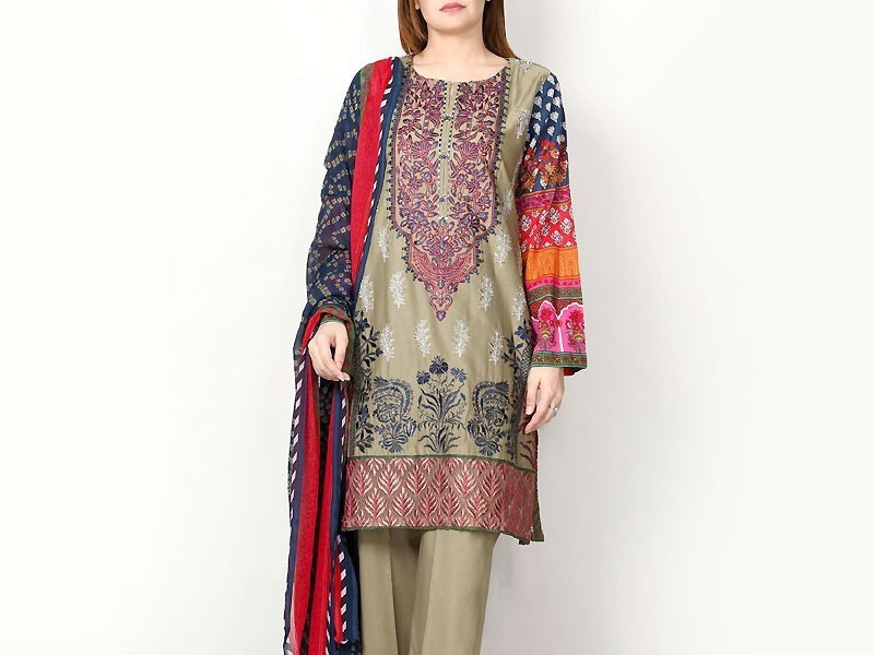 2-Pcs Embroidered Linen Dress with Embroidered Trouser