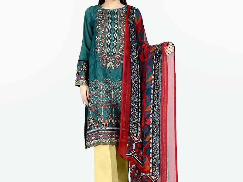 Embroidered Masoori Dress with Jamawar Trouser