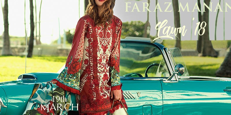 Faraz Manan Embroidered Lawn Collection 2018