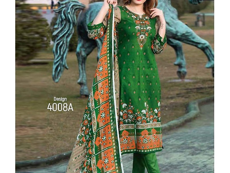 Heavy Embroidered Lawn Dress with Chiffon Dupatta