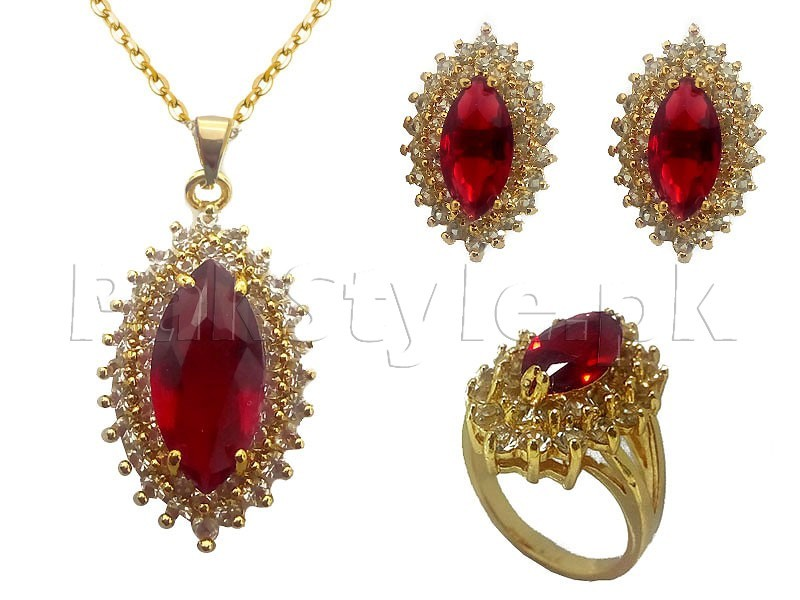 Red Gemstone Jewelry Set Price in Pakistan