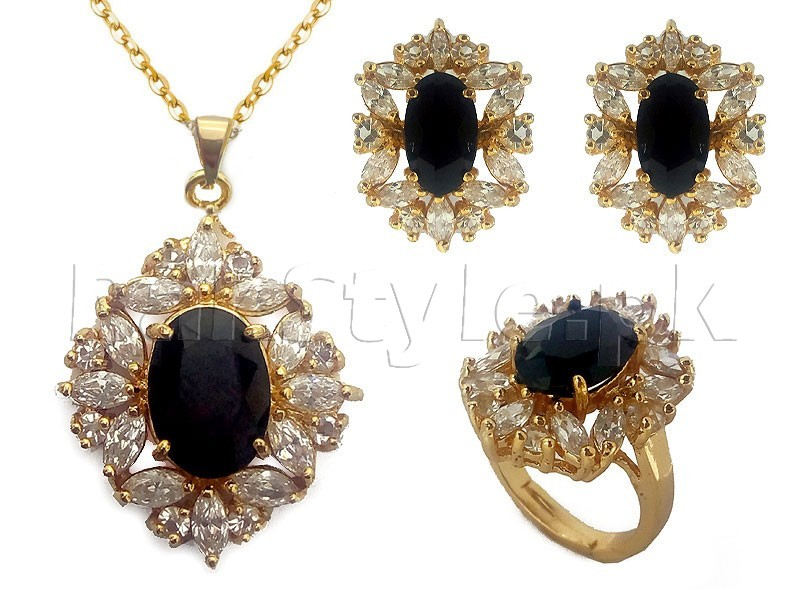 Black Gemstone Jewelry Set