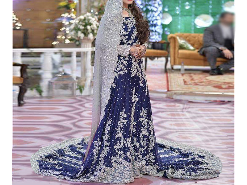 Heavy embroidered blue chiffon bridal maxi dress price in for Online pakistani wedding dresses