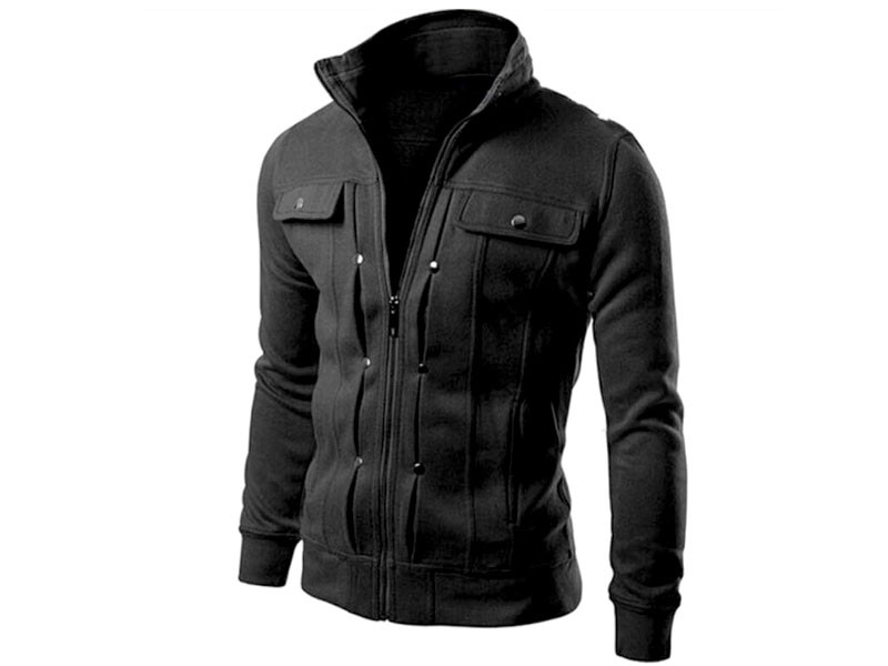 Stylish Men's Fleece Jacket - Black