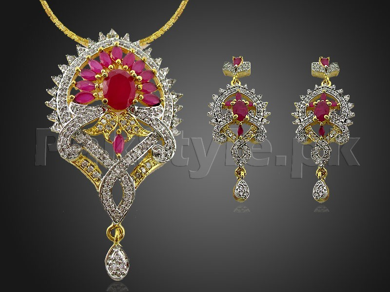 AD Stone Jewelry Pendant Set Price in Pakistan