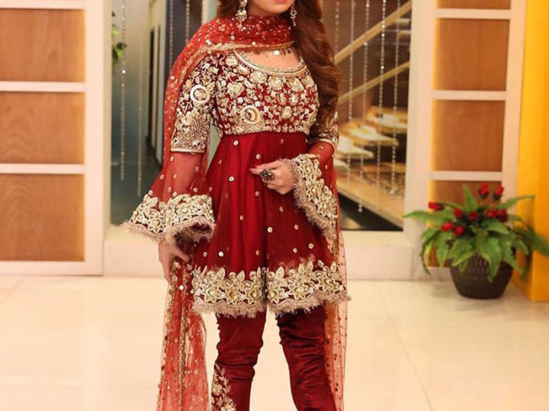 Red Embroidered Chiffon Bridal Dress Price in Pakistan