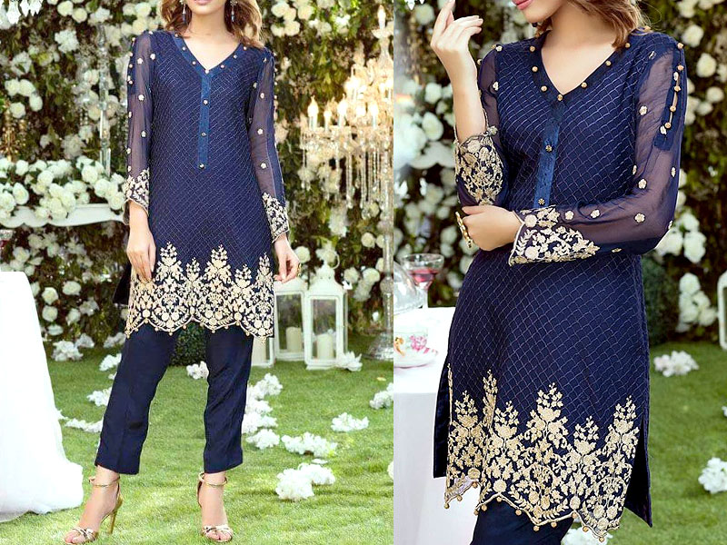 2 Pieces Unstitched Embroidered Chiffon Kurti