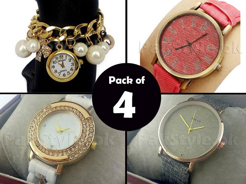 Pack of 4 Ladies Fashion Watches