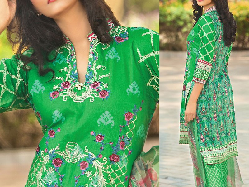 Satrangi Embroidered Cambric Cotton Dress 2-B