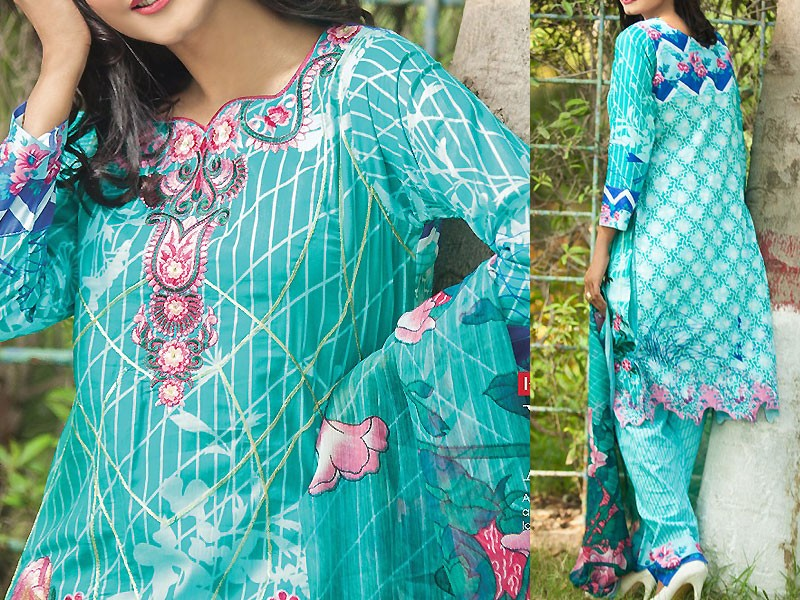 Satrangi Embroidered Cambric Cotton Dress 3-B