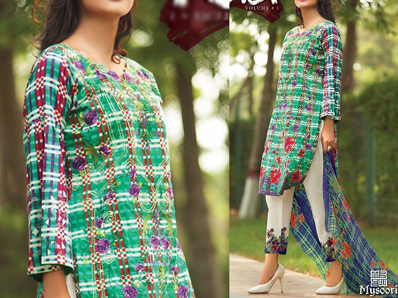 Satrangi Embroidered Cambric Cotton Dress 6-A
