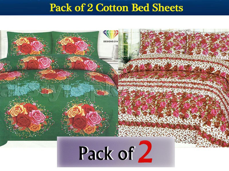 Pack of 2 Crystal Cotton Bedsheets Price in Pakistan