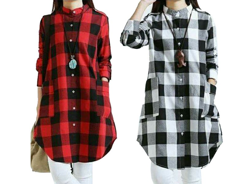Pack of 2 Cotton Checkered Tops