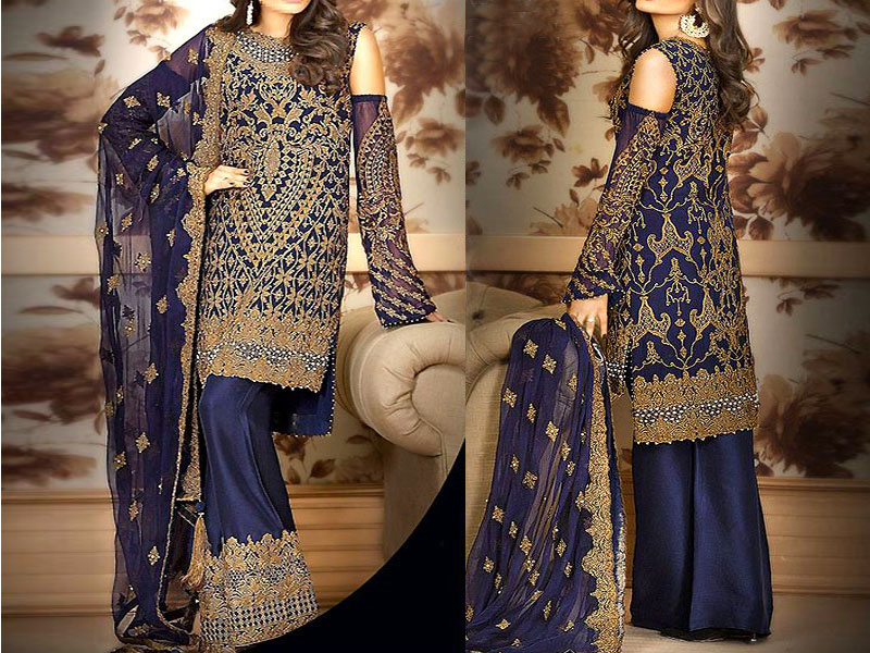 Heavy Embroidered Navy Blue Chiffon Dress