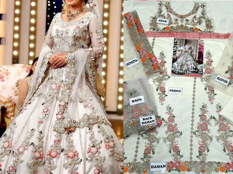 Embroidered White Net Maxi Dress Price in Pakistan