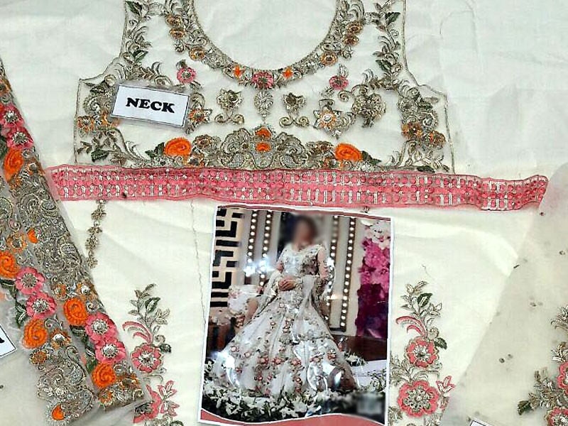 Embroidered White Net Maxi Dress in Pakistan