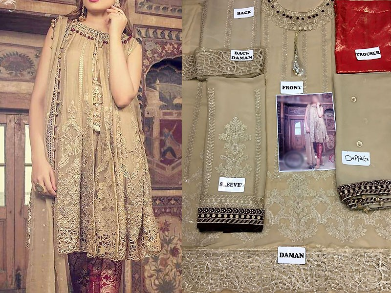 Embroidered Chiffon Dress with Jamawar Trouser