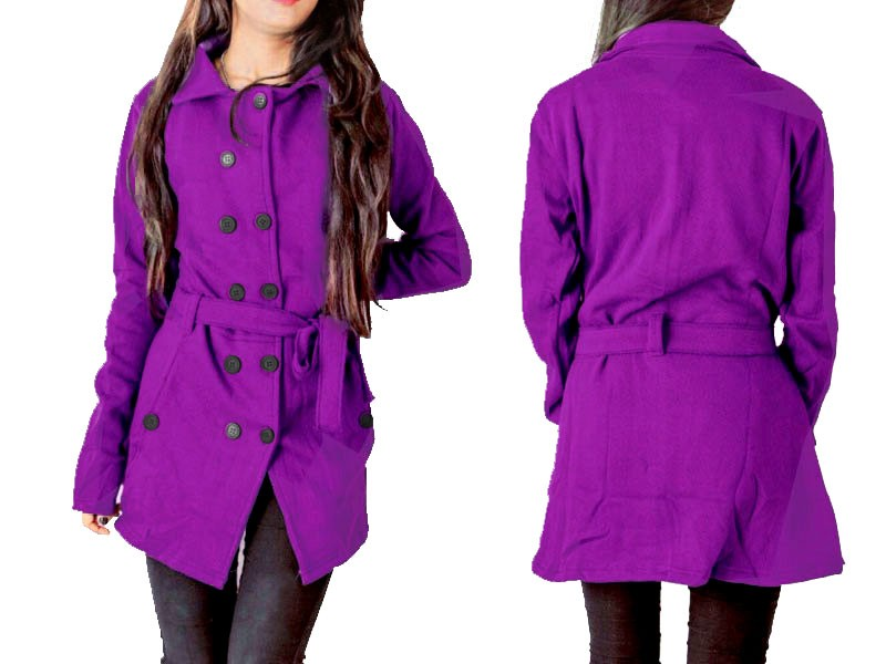 Women's Fleece Winter Coat - Purple