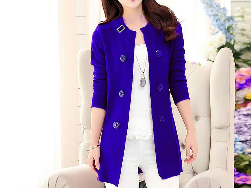 Korean Style Ladies Fleece Coat - Blue