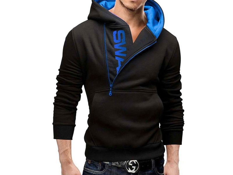 Stylish Men's Swag Hoodie - Blue