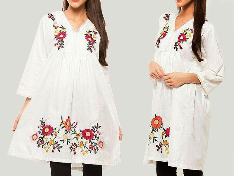 Flower Embroidery White Cotton Top Price in Pakistan ...