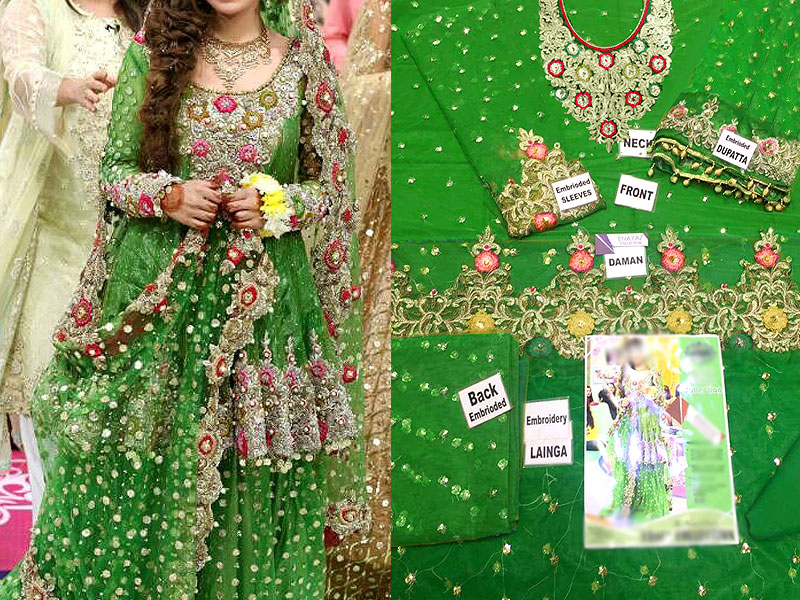 Embroidered Green Net Bridal Lehenga Dress in Pakistan