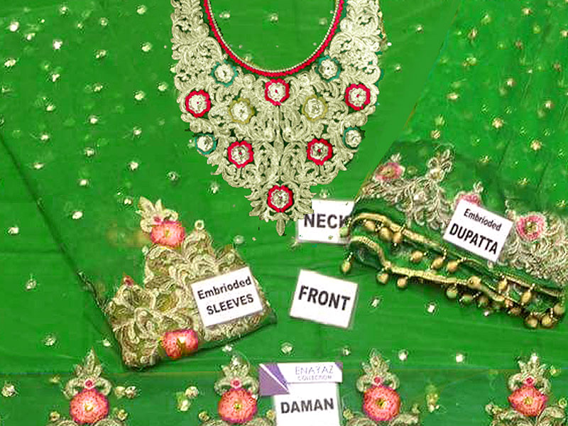 Embroidered Green Net Bridal Lehenga Dress