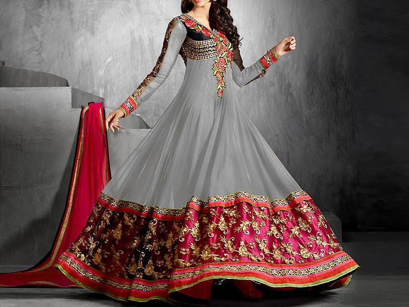 2f35052956 Indian Embroidered Chiffon Anarkali Frock Price in Pakistan (M010228 ...