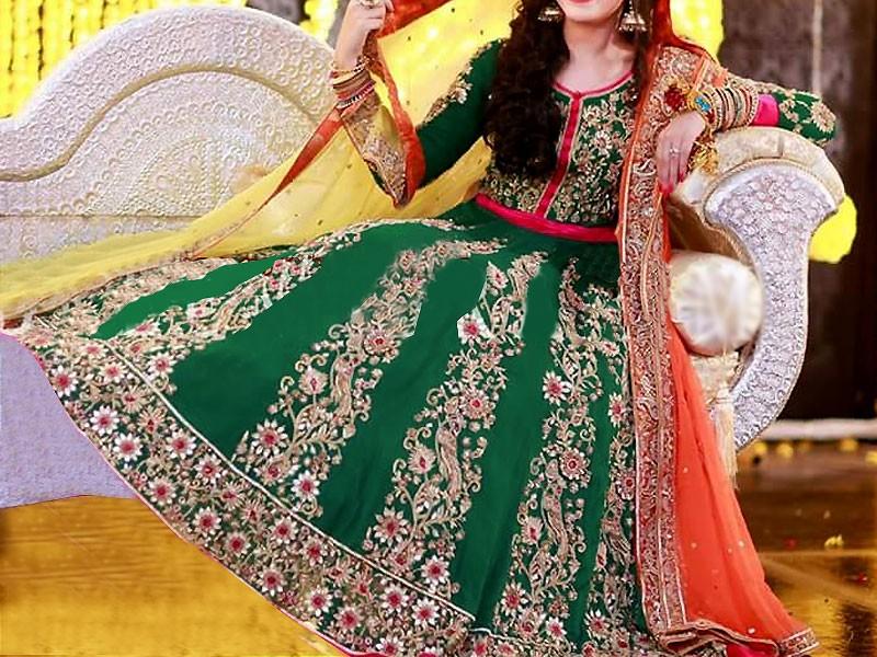 Embroidered Chiffon Green Maxi Dress Price In Pakistan