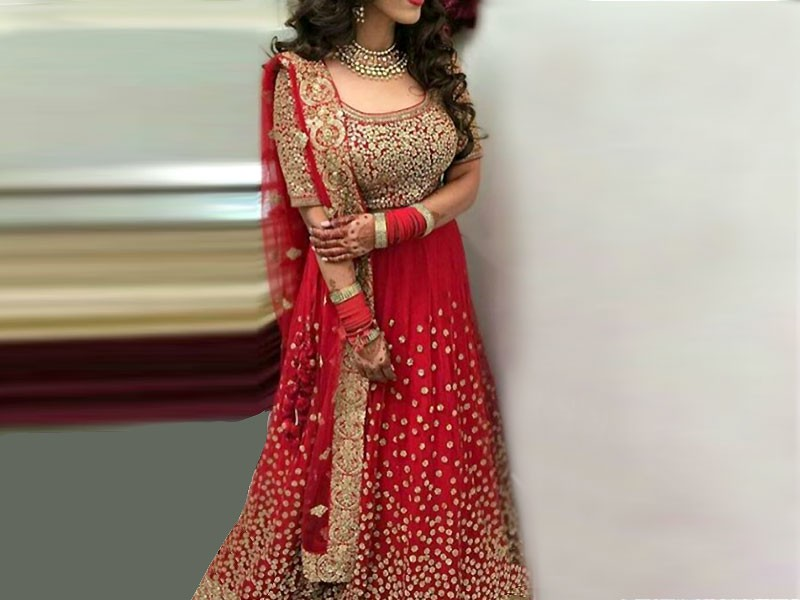 Embroidered Chiffon Red Maxi Dress Price In Pakistan