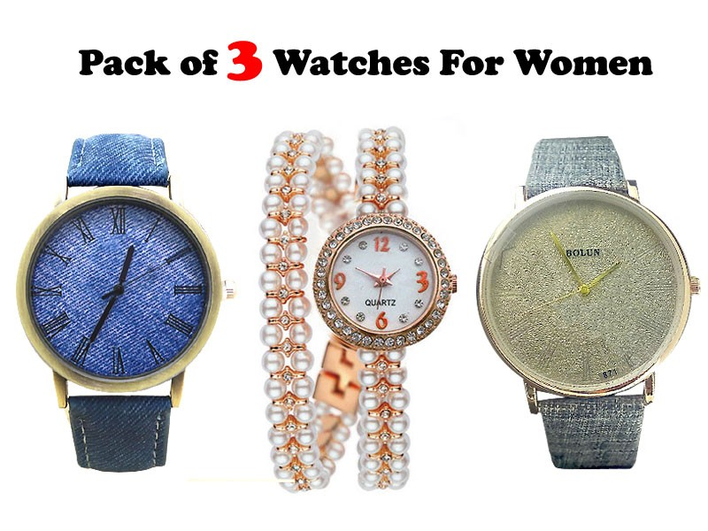 Pack of 3 Ladies Fashion Watches Price in Pakistan