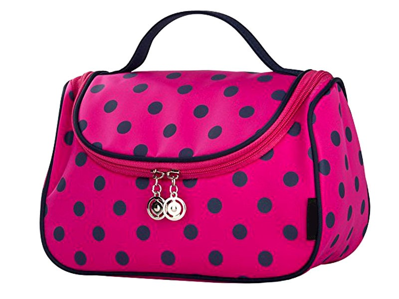 Polka Dot Travel Cosmetic Bag Case - Pink