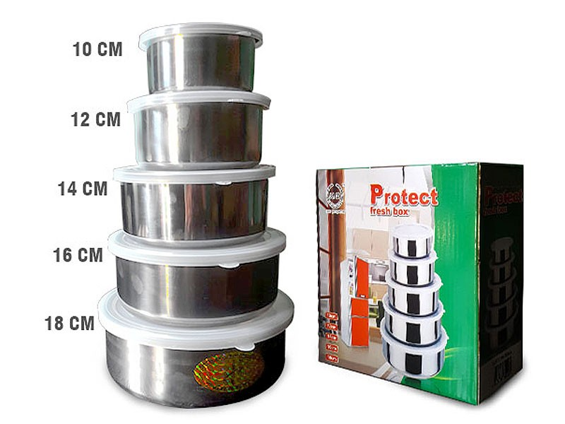 Stainless Steel 5 Food Containers with Lids