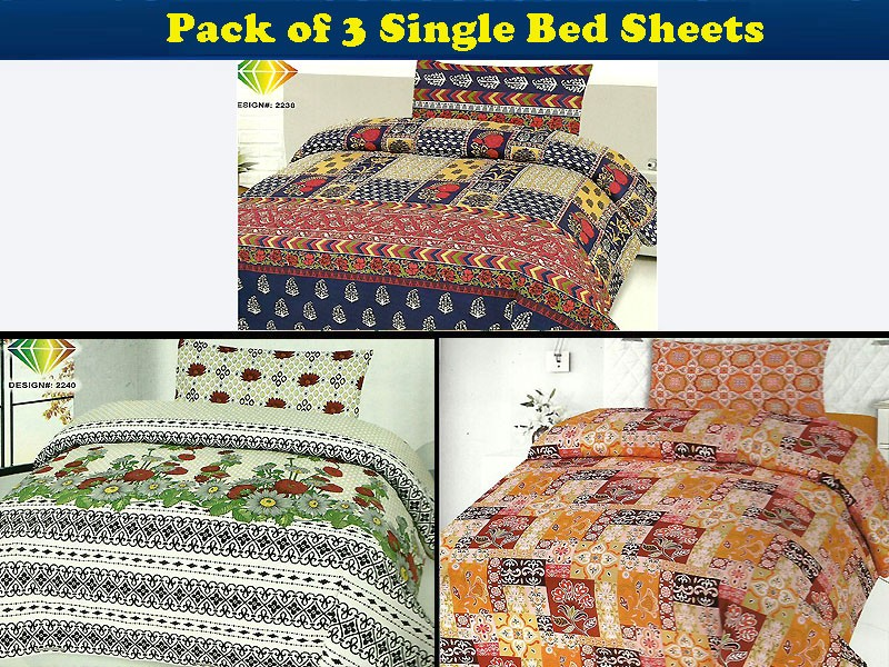 Pack of 3 Single Bed Sheets