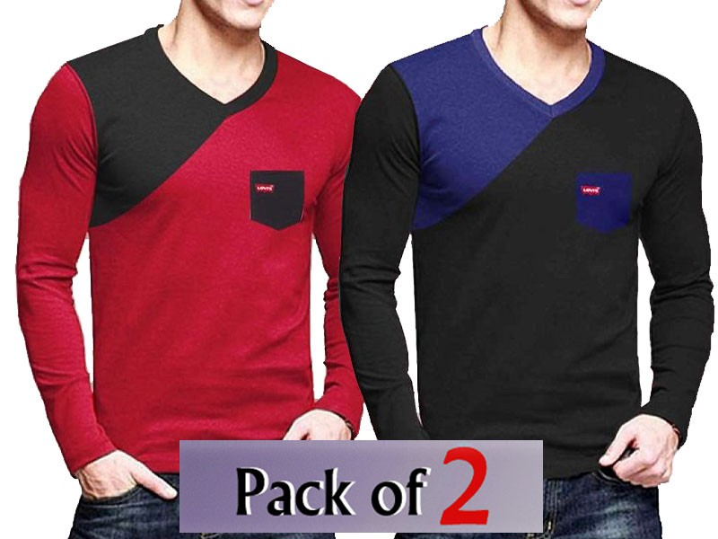 Pack of 2 V-Neck Full Sleeves Shirts