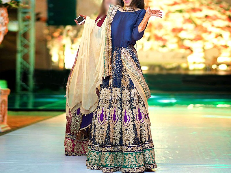 Multicolor Embroidered Chiffon Lehenga Price in Pakistan