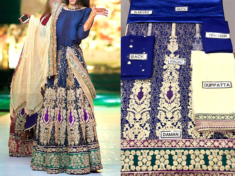 Multicolor Embroidered Chiffon Lehenga