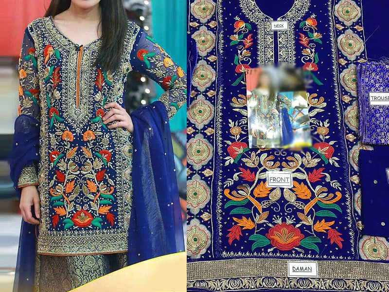 Embroidered Chiffon Royal Blue Dress