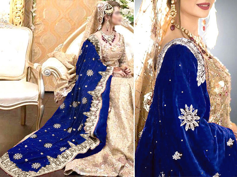 Heavy Embroidered Bridal Velvet Shawl - Blue